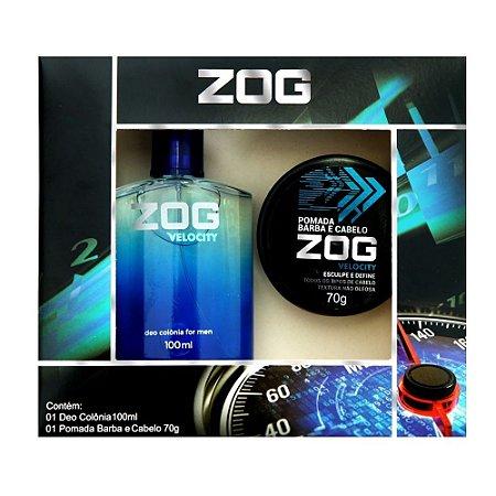 Kit Colonia Zog Velocity 100ml com Pomada Barba e Cabelo 70g