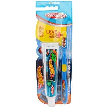 febe5096d Escova de Dente Condor Jr Hot Wheels + Gel Dental - FarmaViver