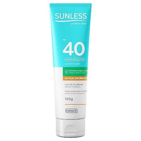 Protetor Solar Sunless Hipoalergenico FPS 40 120g