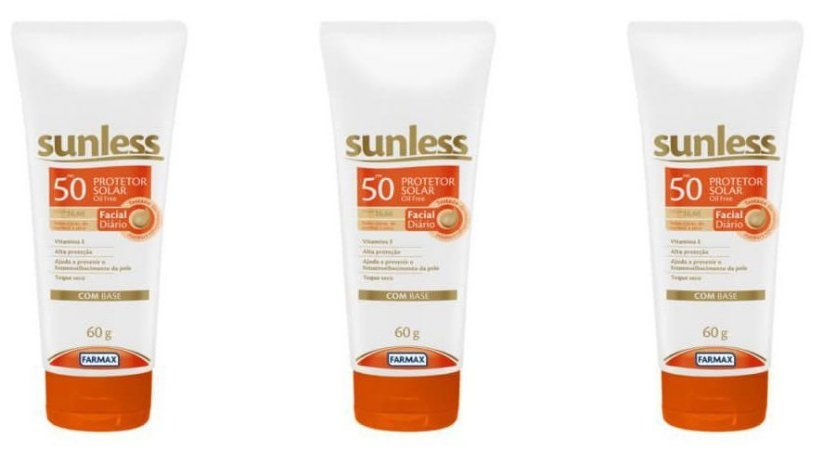 Protetor Solar Sunless Facial FPS 50 Base Médio 60g -kit c/3