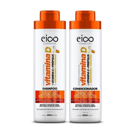 Kit Eico Shampoo+Condicionador Vitamina D 800ml cada
