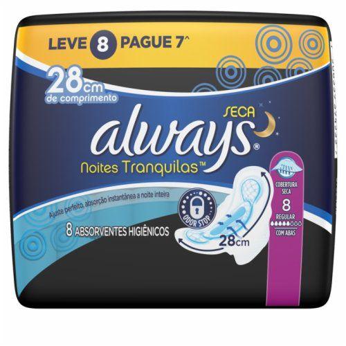 Absorvente  Always Noturno Seca  28cm c/ abas c/ 8