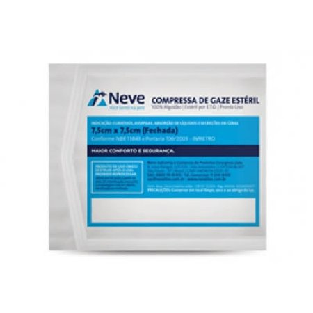 Compressa de Gaze Esteril Neve 7,5 x 7,5 10un