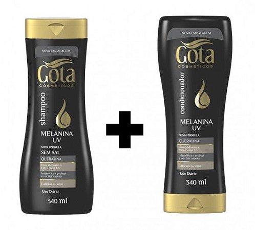Kit Gota Dourada Sh+Cond Melanina 340ml