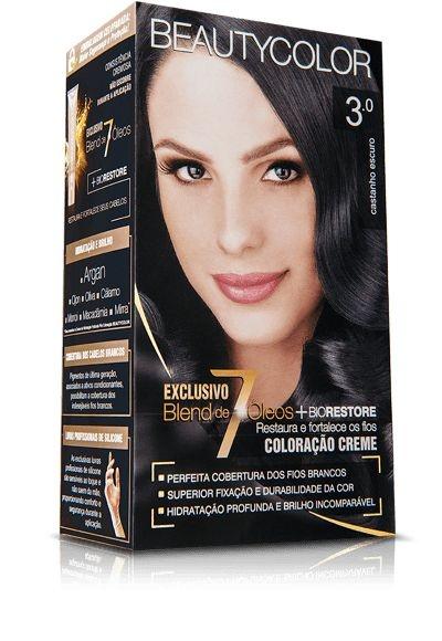 Tintura beauty color kit 3.0 castanho escuro