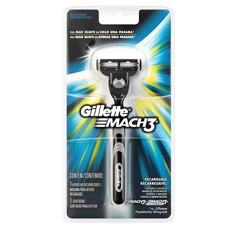 Aparelho Barbear Gillette Mach 3 RECARREGAVEL C/ 1 CARTUCHO