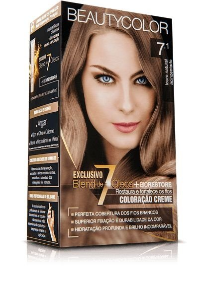 Tintura Beauty Color Kit Nova 7.1 Louro Acinzentado