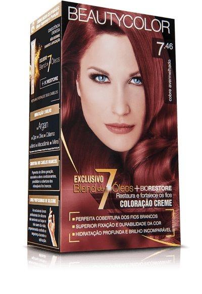 Tintura Beauty Color Kit Nova 7.46 Louro Acobreado Vermelho