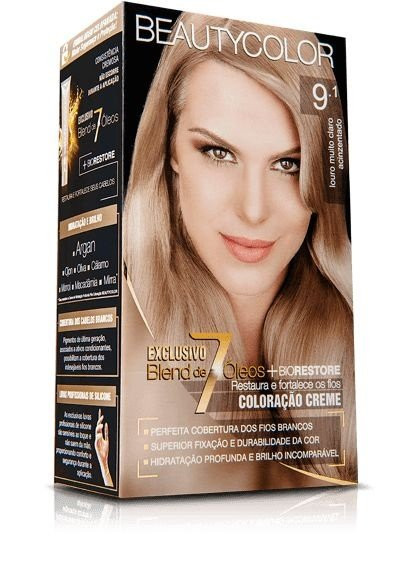 Tintura Beauty Color Kit Nova 9.1 Louro Muito Claro Acinzent