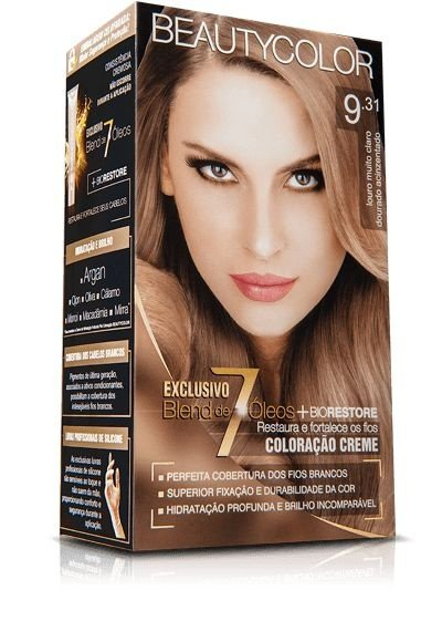 Tintura Beauty Color Kit Nova 9.31 Louro Claro Dourado Acinz