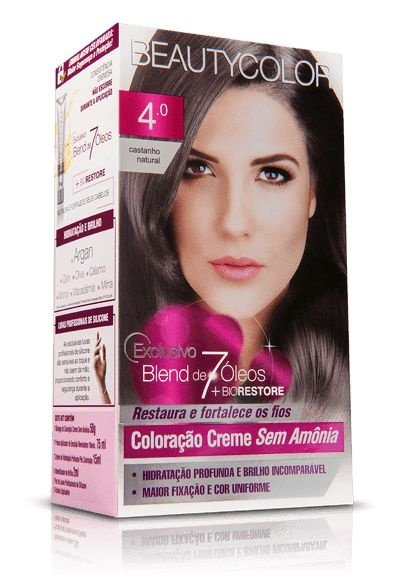 Tintura Beauty Color Sem Amônia 4.0 Castanho Natural
