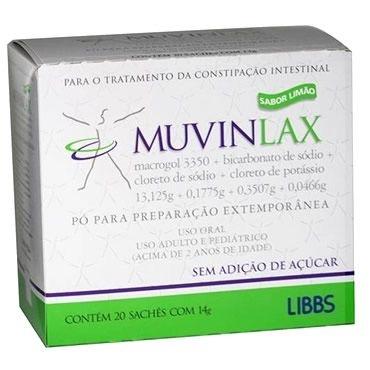 Muvinlax 20 sachês de 14grs sabor limão
