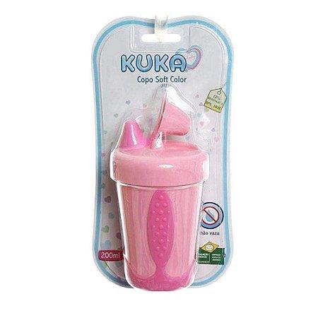 Copo Kuka Soft Color Antivazamento 200ml Rosa Ref.7708