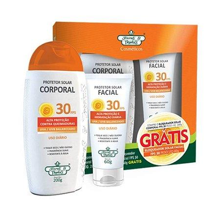 Kit Protetor Solar Flores E Vegetais Corporal+Facial FPS 30