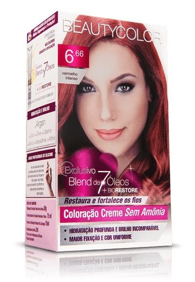 Tintura Beauty Color Sem Amônia 6.66 Vermelho Intenso