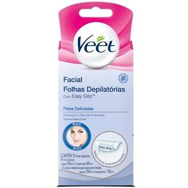Veet Cera Fria Depilatória Facial c/ 12 Pele Delicada