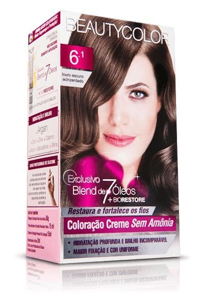 Tintura Beauty Color Sem amonia 6.1 Louro Escuro Acinzentado
