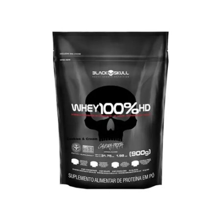 WHEY 3W 100% HD REFIL BLACK SKULL - 900G