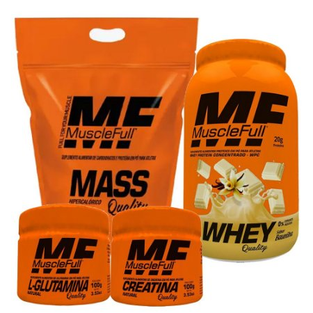KIT MUSCLE FULL - WHEY QUALITY 810G + MASS QUALITY 2,7KG + GLUTAMINA 100G + CREATINA 100G