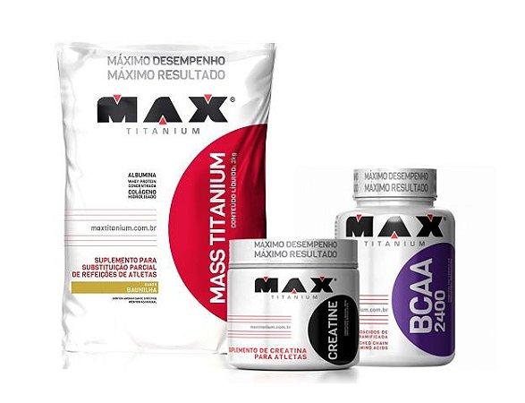 KIT MAX TITANIUM - MASS TITANIUM + CREATINA 150G + BCAA 100 CAPS