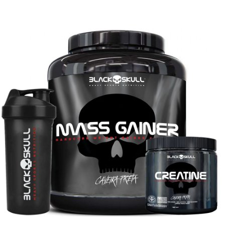 KIT BLACK SKULL 1 - MASS GAINER 3KG + CREATINA 300G + COQUETELEIRA