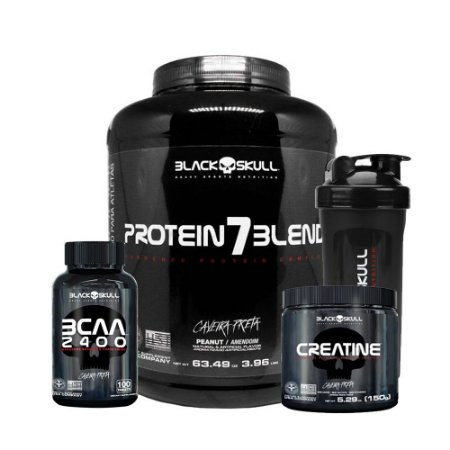 KIT BLACK SKULL 4 - PROTEIN7BLEND 1,8KG + BCAA 2400 100 TABLETS + CREATINA 150G + COQUETELEIRA