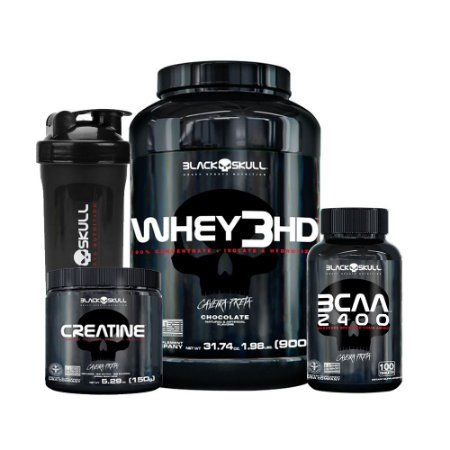 KIT BLACK SKULL 5 - WHEY 3HD 900G + CREATINA 150G + BCAA 2400 100 TABLES + COQUETELEIRA