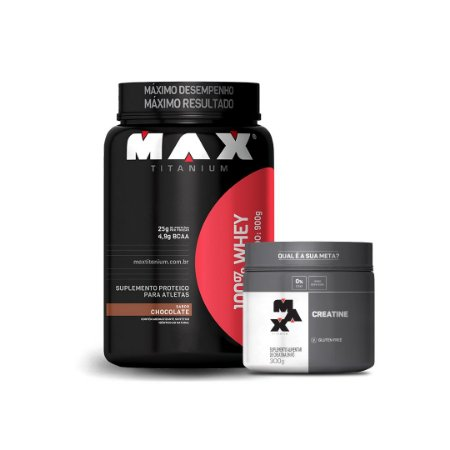 KIT MAX 2 - 100% WHEY 900G + CREATINA 300G