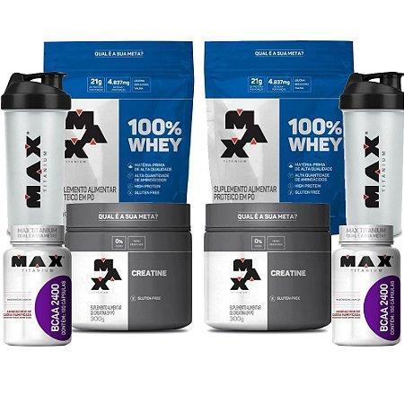 KIT MAX 4 - 2 100% WHEY REFIL 900G + 2 CREATINA 300G + 2 BCAA 2400 100 CAPS + 2 COQUETELEIRA
