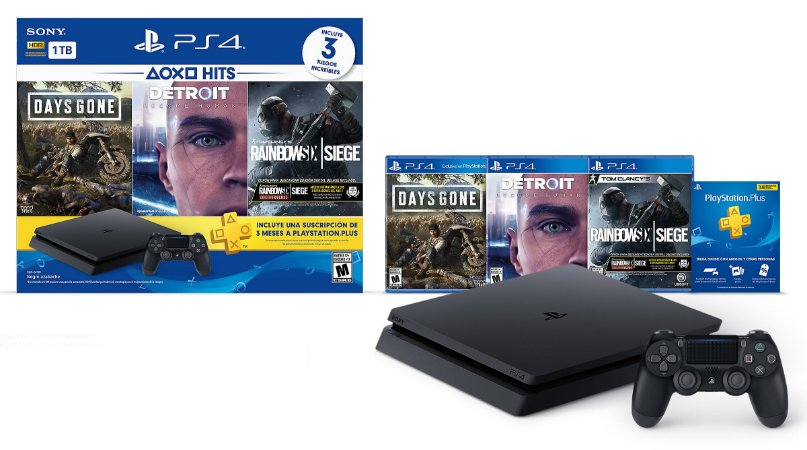 Playstation 4 Slim com 3 jogos + 3 meses de Playstation Plus (NOVO LACRADO)