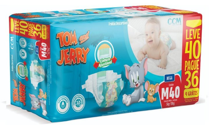 Fralda Descartável Infantil Tom E Jerry- M 40 Unidades