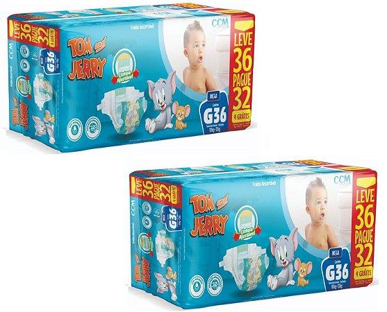 Fralda Descartável Infantil Tom E Jerry-G 72 Unidades