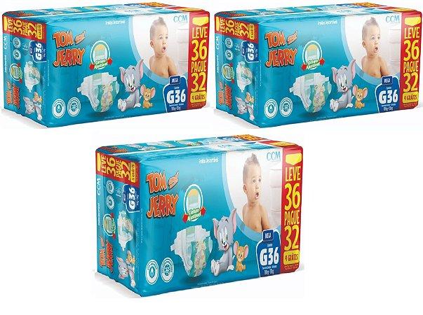 Fralda Descartável Infantil Tom E Jerry-G 108 Unidades