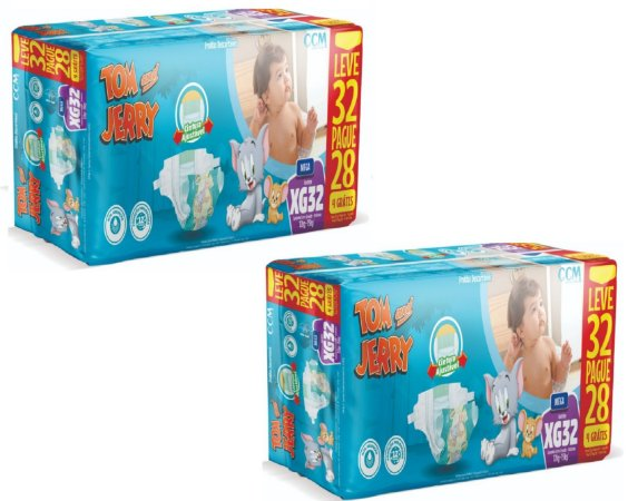 Fralda Descartável Infantil Tom E Jerry- XG 64 Unidades