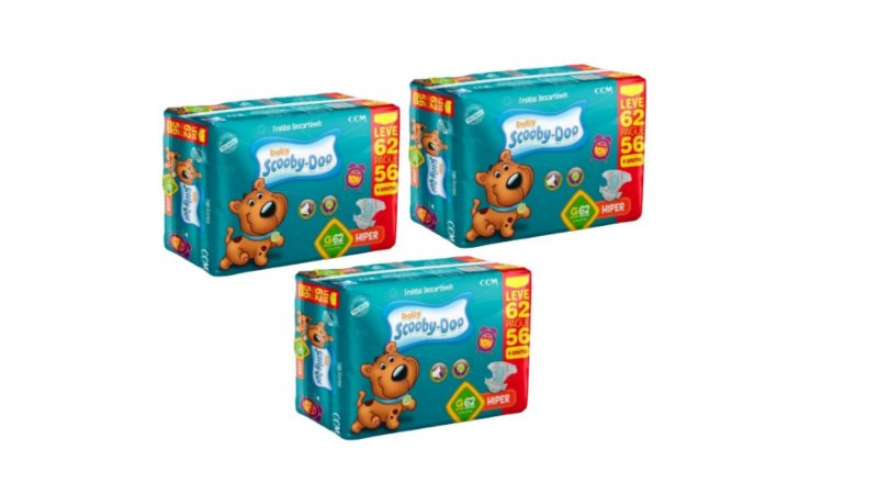 Fraldas Descartáveis Infantil Scooby-Doo-G-186 unidades