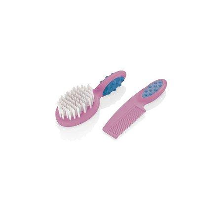 Pente e Escova Para Cabelo Soft Touch Rosa BB207 MultiKids