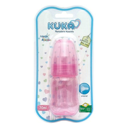 Mamadeira Kuka Aquarela com Bico Universal Rosa 70ml