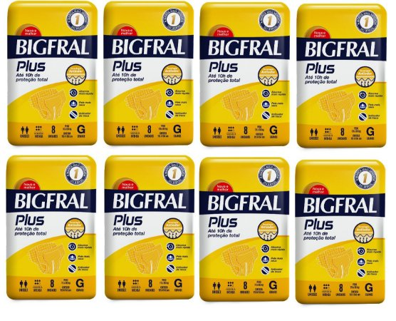 Fralda Geriatrica BigFral Plus- G 64 unidades
