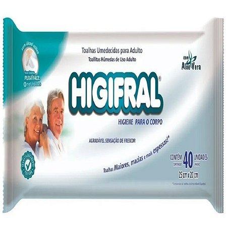 Toalha Umedecida Adulto Higifral - 40 unidades