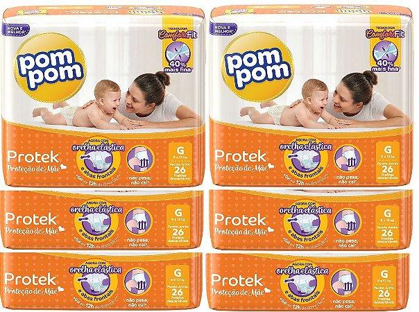 Fralda Infantil Pom Pom Protek G 156 unidades