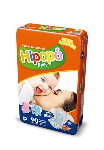 Fralda Infantil Hipopo P Mega com 90 unid