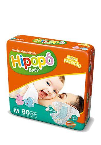 Fralda Infantil Hipopo M Mega com 80 unid