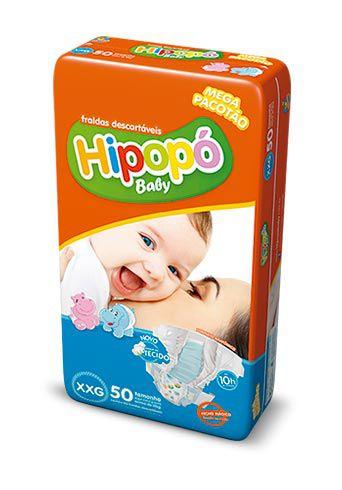 Fralda Infantil Hipopo XXG Mega com 50 unid
