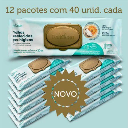Toalha Umedecida Adulto Feelclean Novo  Kit c/12 pacotes
