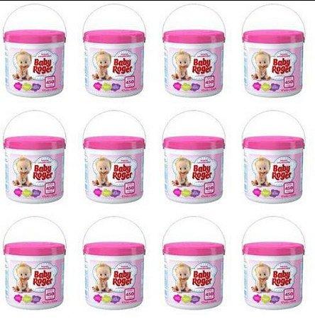 Lenço Umedecido Balde ROSA Baby Roger Kit C/12 Baldes