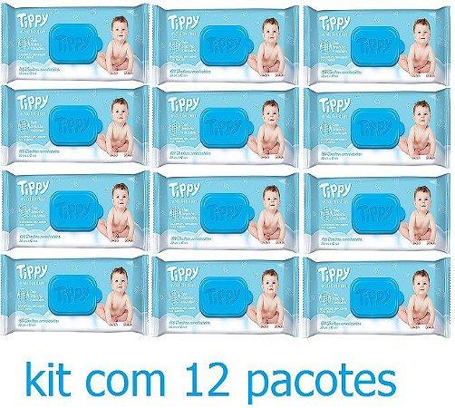 Toalhinha Umedecida Tippy kit com 12 pacotes = 1200 unid.