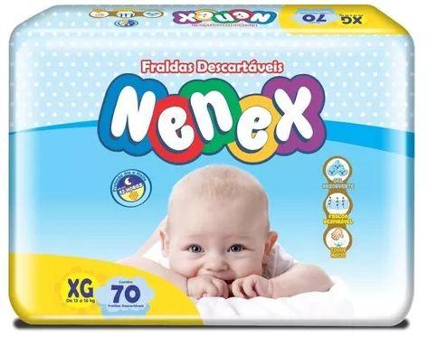 Fraldas Descartáveis-Infantil Nenex DIA/NOITE XG 70 unidades