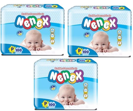 Fraldas Descartáveis-Infantil Nenex DIA/NOITE-P 300 unidades
