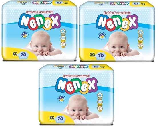 Fraldas Descartáveis-Infantil Nenex DIA/NOITE XG 210 unid