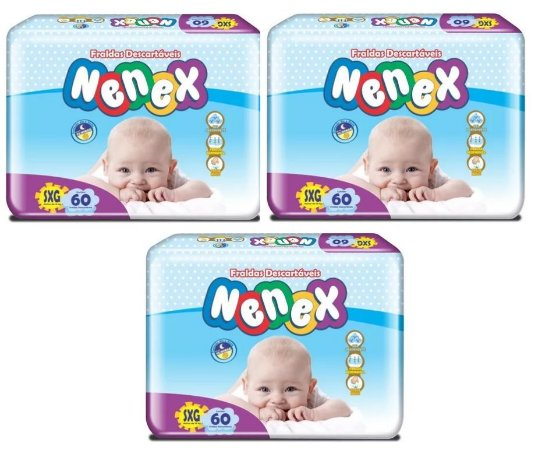 Fraldas Descartáveis-Infantil Nenex DIA/NOITE SXG 180 Unid